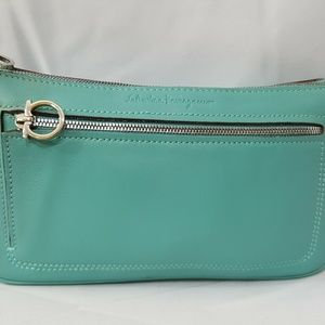 Salvatore Ferragamo seafoam green leather mini bag
